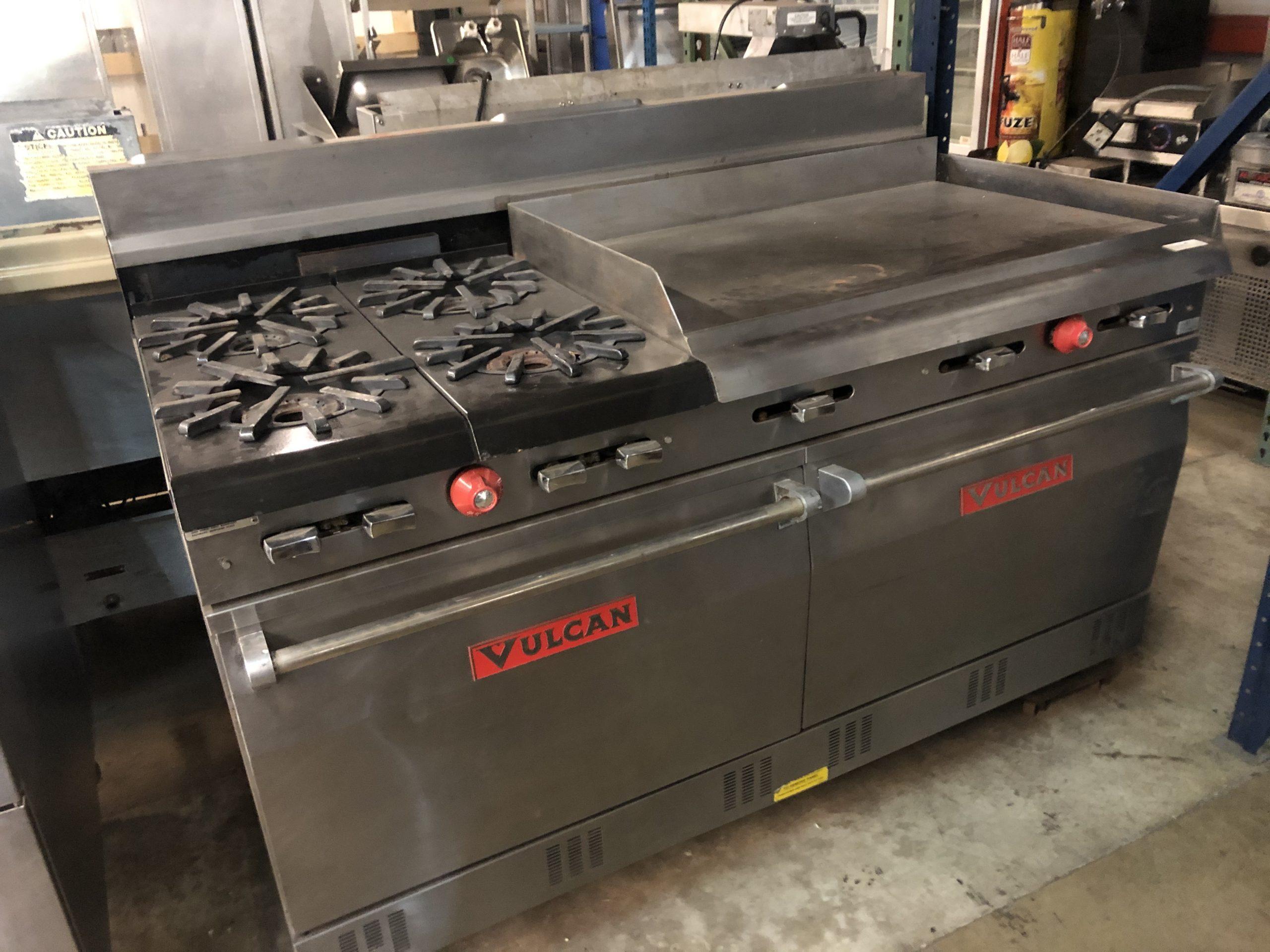 """Vulcan 60"""" Nat Gas Range 4 burners 3"""" Griddle Image"""